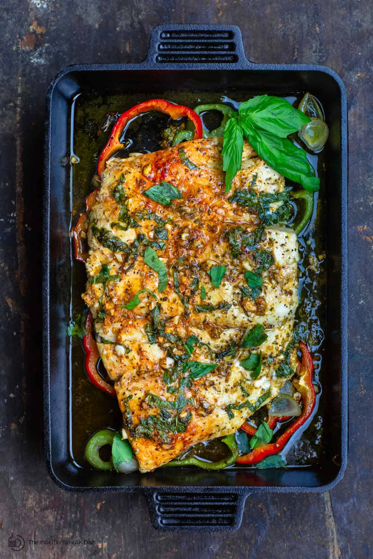 Easy Baked Fish With Garlic And Basil The Mediterranean Dish