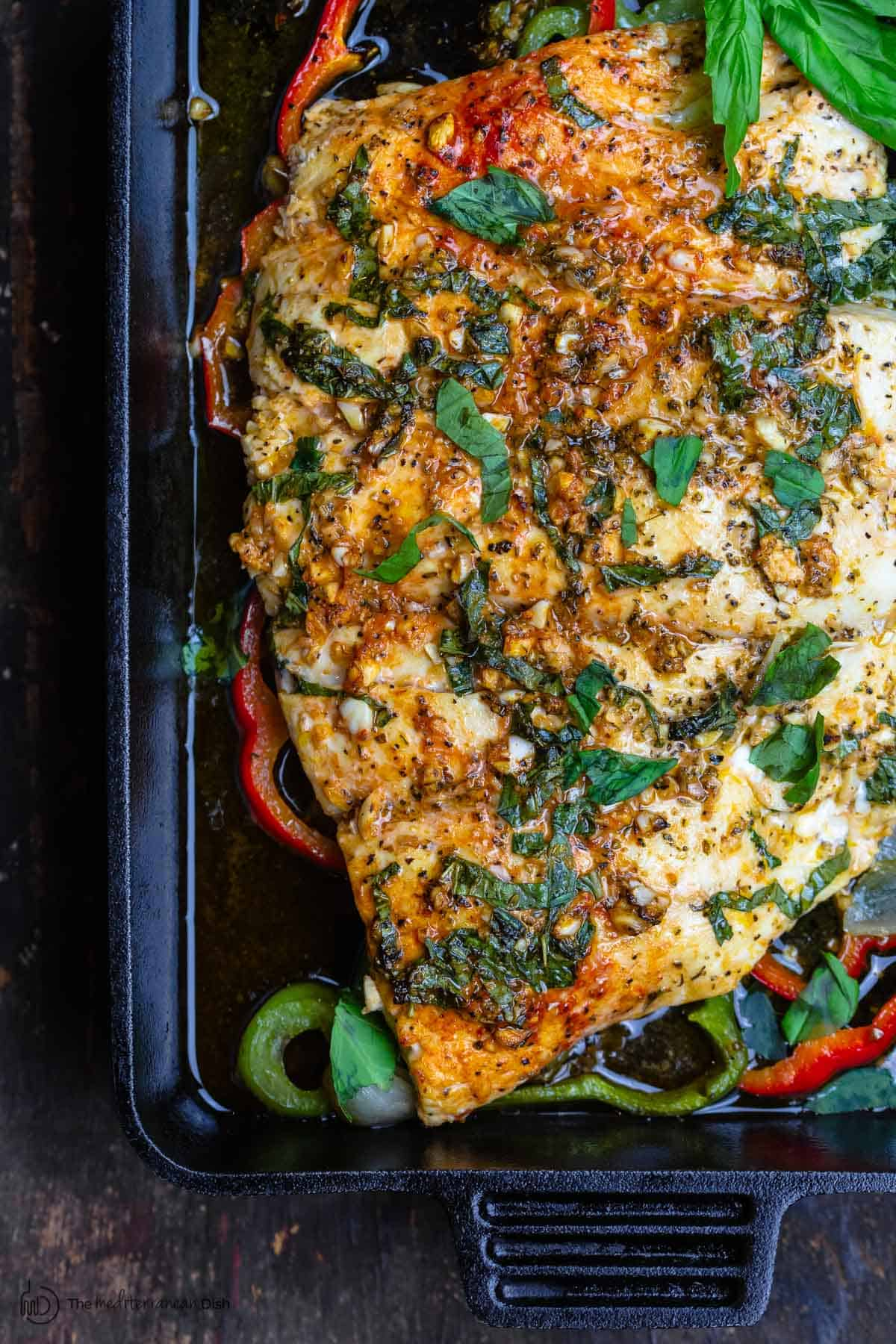 Baked fish in pan
