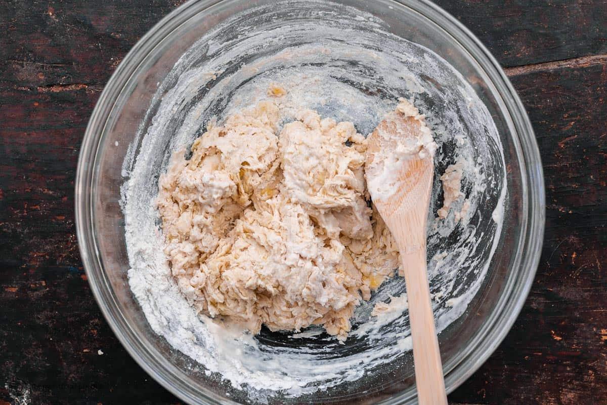 shaggy pita dough
