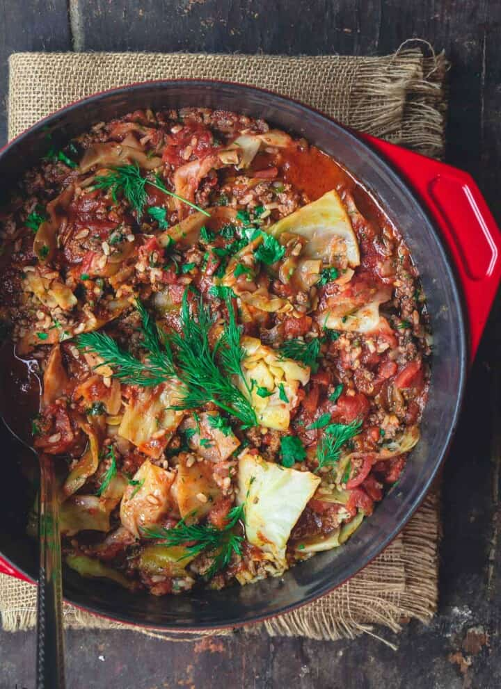 Unstuffed cabbage rolls in a large pot