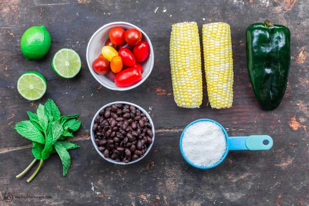ingredients for black bean salad