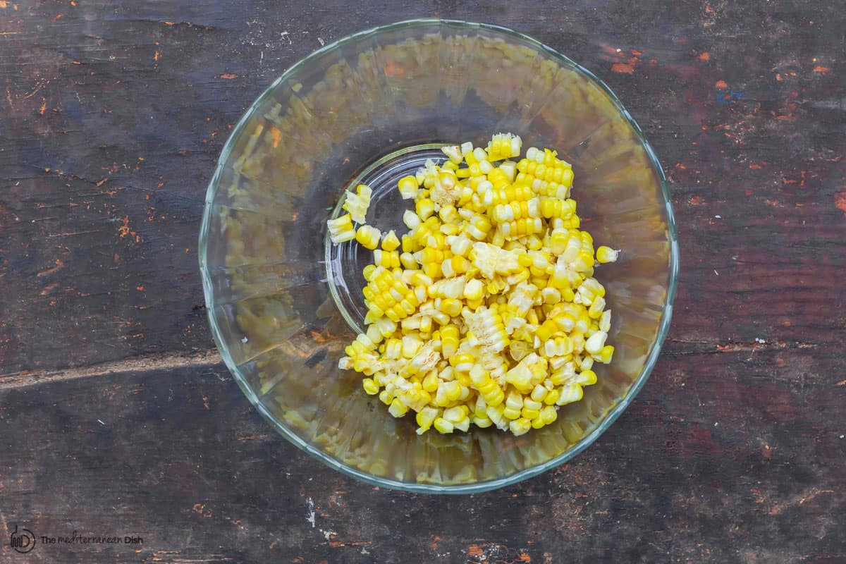 Corn kernels in a mixing bowl