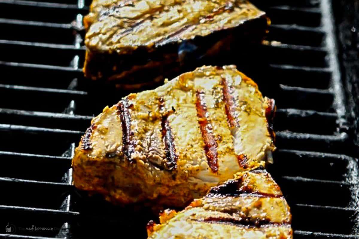 Swordfish steaks on gas grill