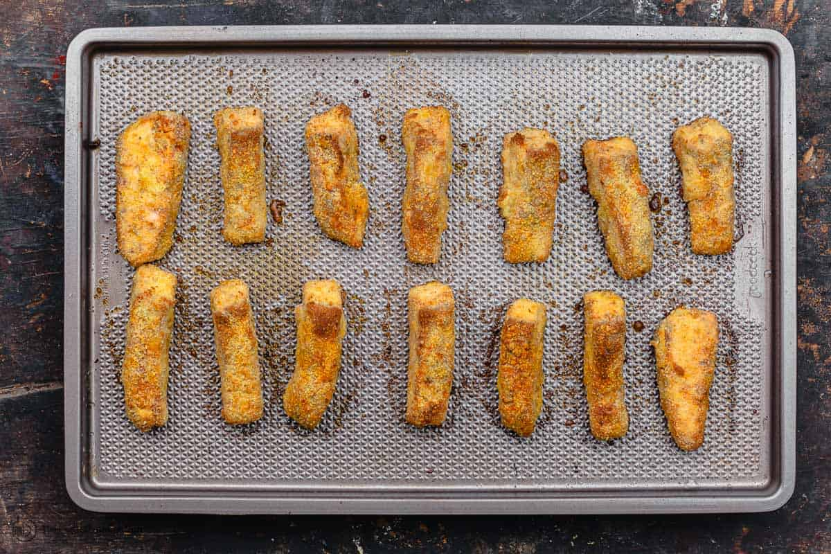 Baked crispy salmon fish sticks