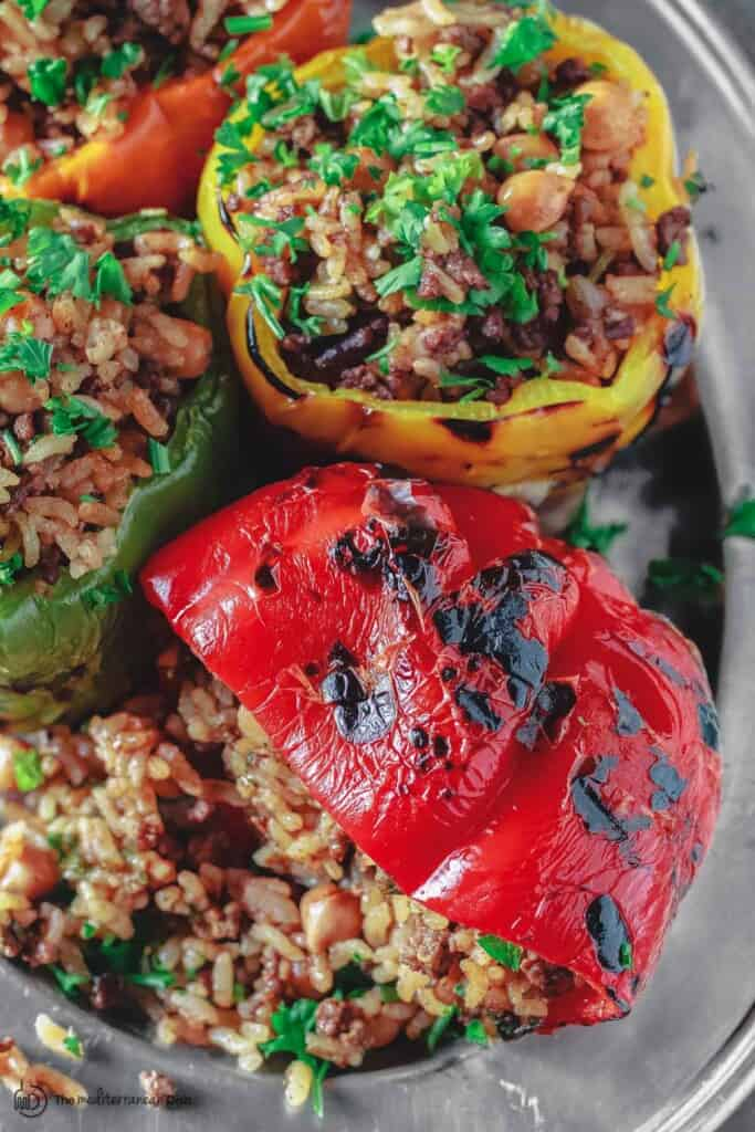 Stuffed peppers on a serving platter