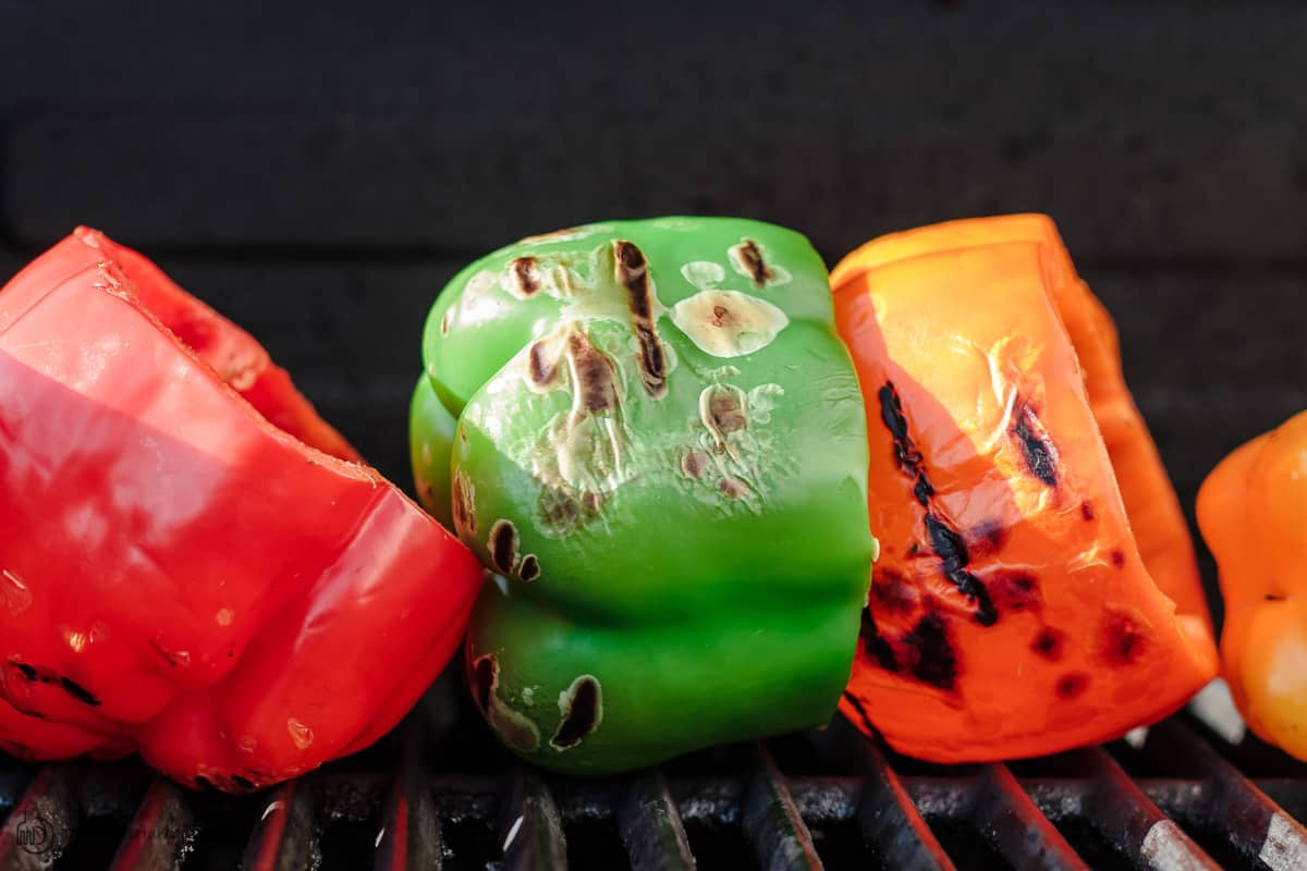 bell peppers on the grill