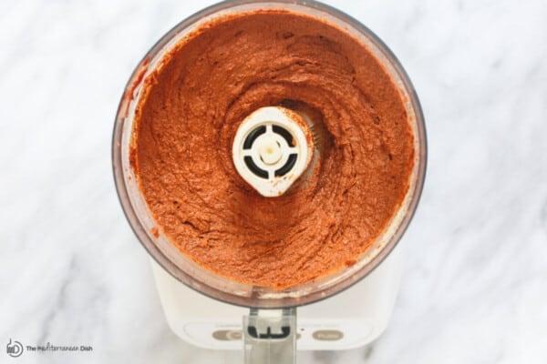muhammara dip in the food processor