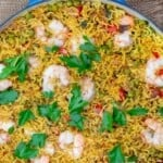 Mediterranean shrimp rice pinterest image