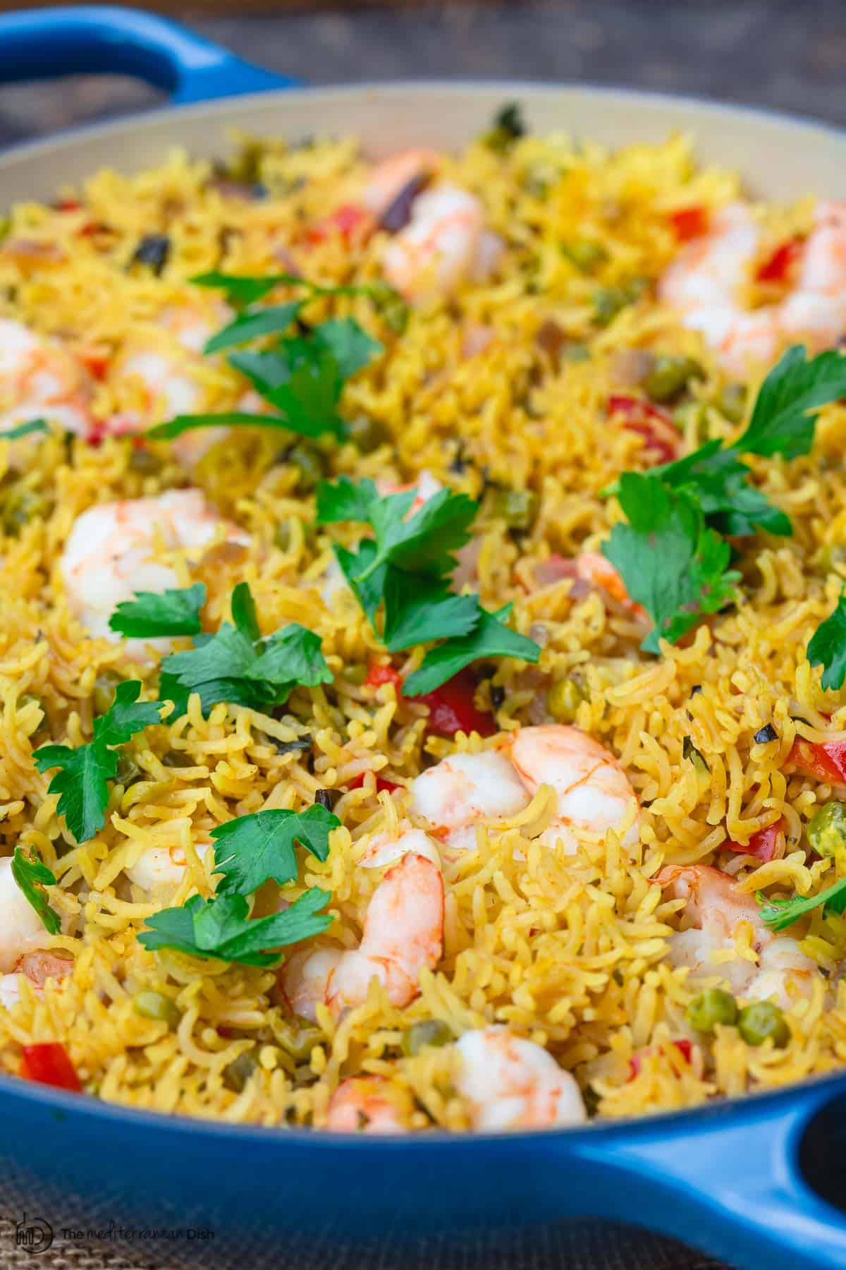 One Pan Shrimp And Rice Healthy Delicious The Mediterranean Dish