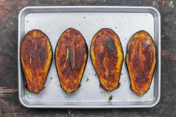Roasted eggplant on a sheet pan