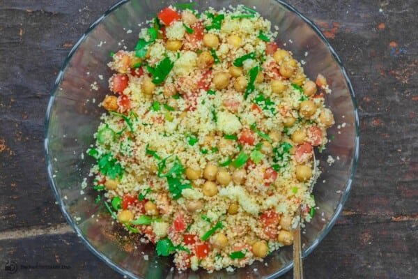 filling of couscous, chickpeas, tomatoes, green onions and parsley