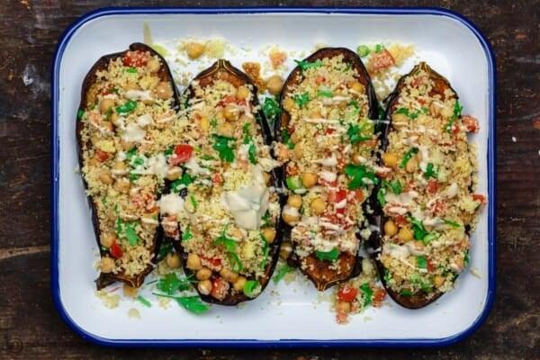 Assembled stuffed eggplant