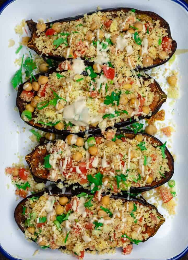 Mediterranean stuffed eggplant with couscous and chickpeas