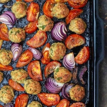 baked chicken meatballs with tomatoes and onions