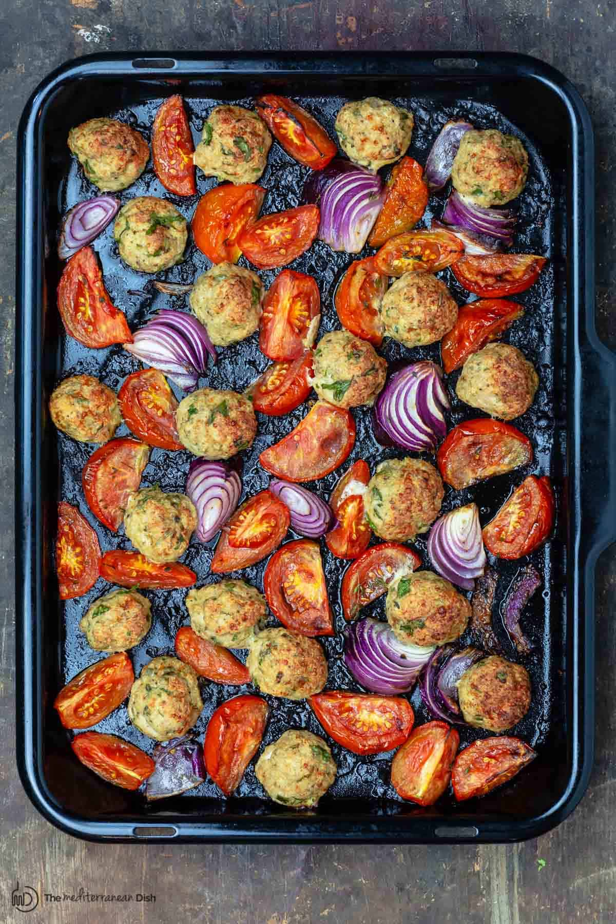 chicken meatballs in baking sheet