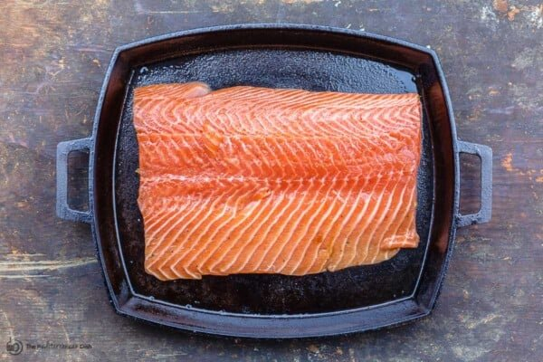 salmon fillet on a sheet pan