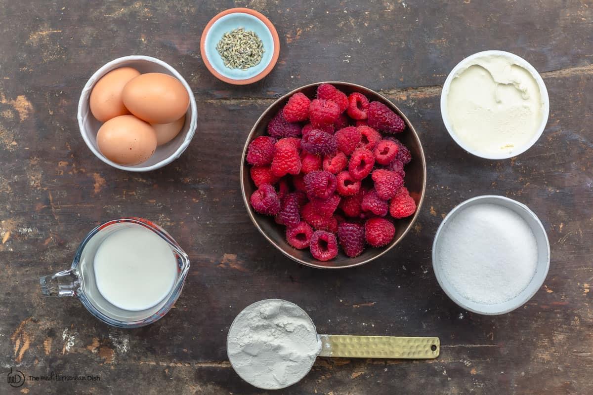 Raspberry clafoutis ingredients