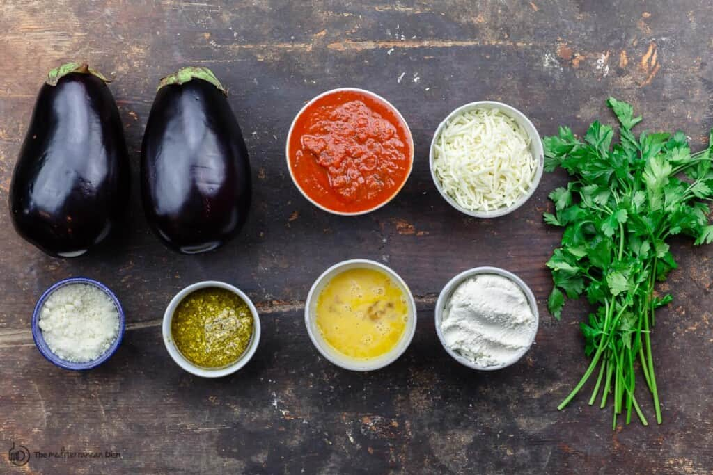 Ingredients for eggplant rollatini
