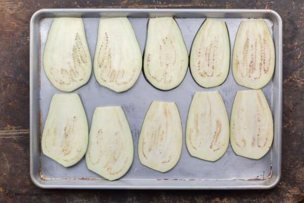 Eggplant sprinkled with salt