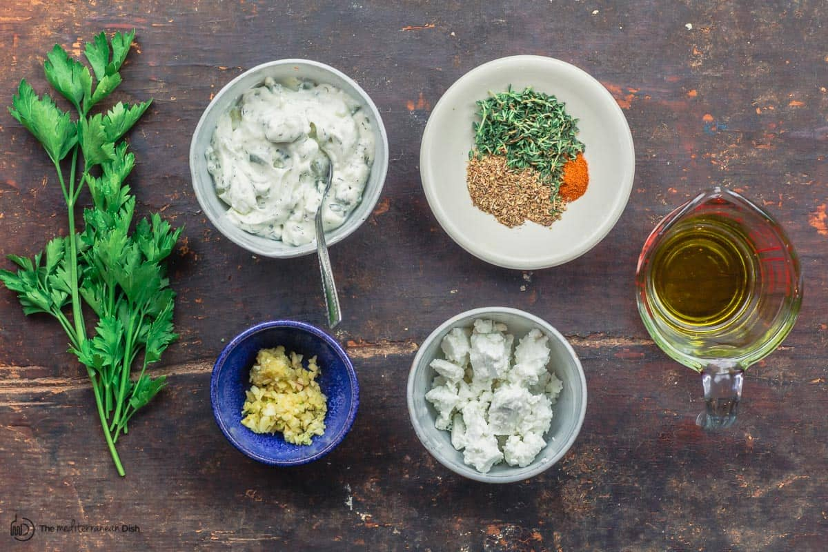 Flavors for Greek fries. feta, parsley, olive oil, spices, and garlic