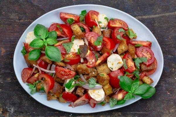 panzanella salad on a serving platter