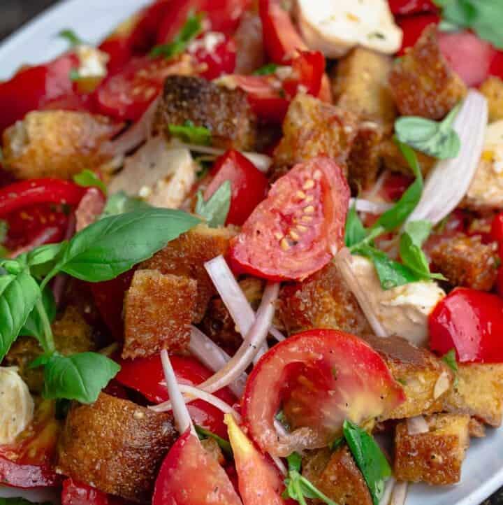 Tomato panzanella on serving platter