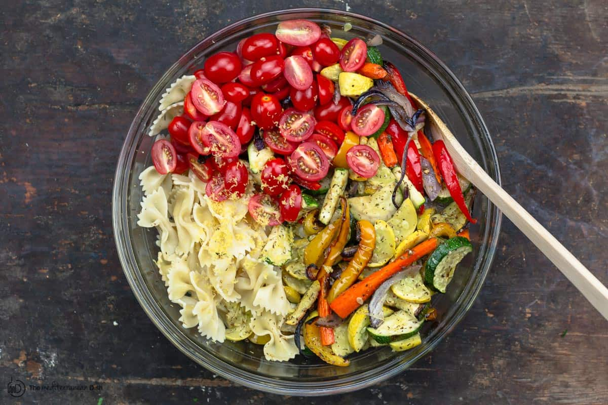 pasta and veggies in one large bowl
