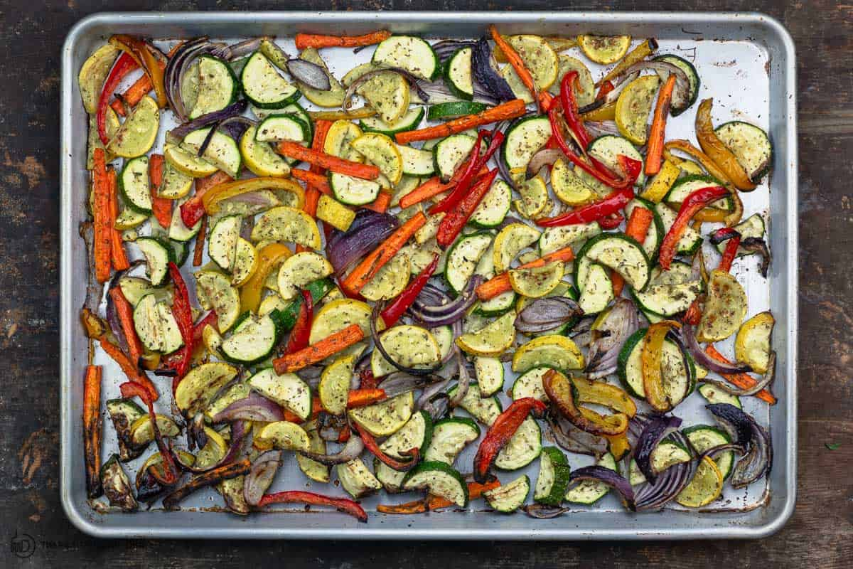 vegetables roasted on a sheet pan