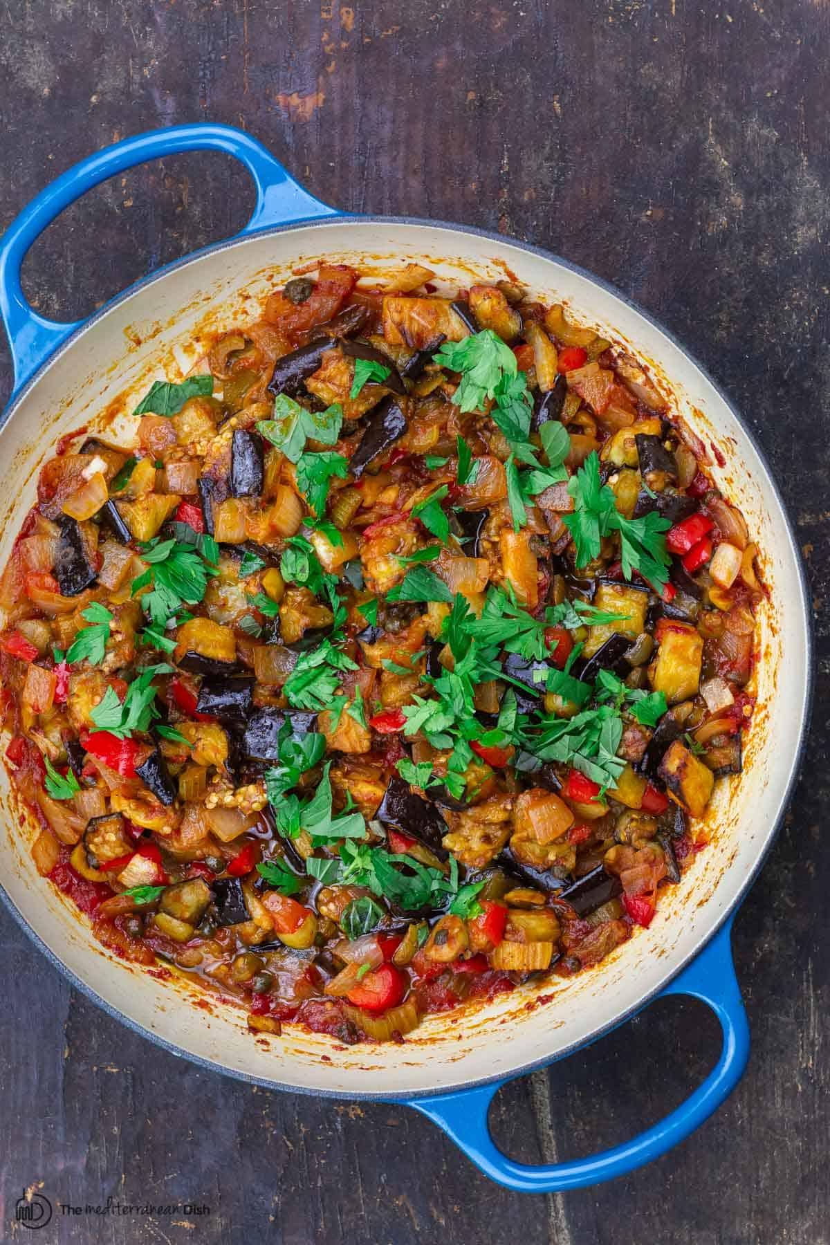 eggplant caponata in barising pan