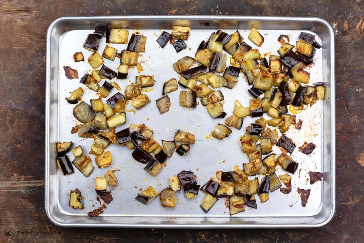 roasted eggplant on sheet pan