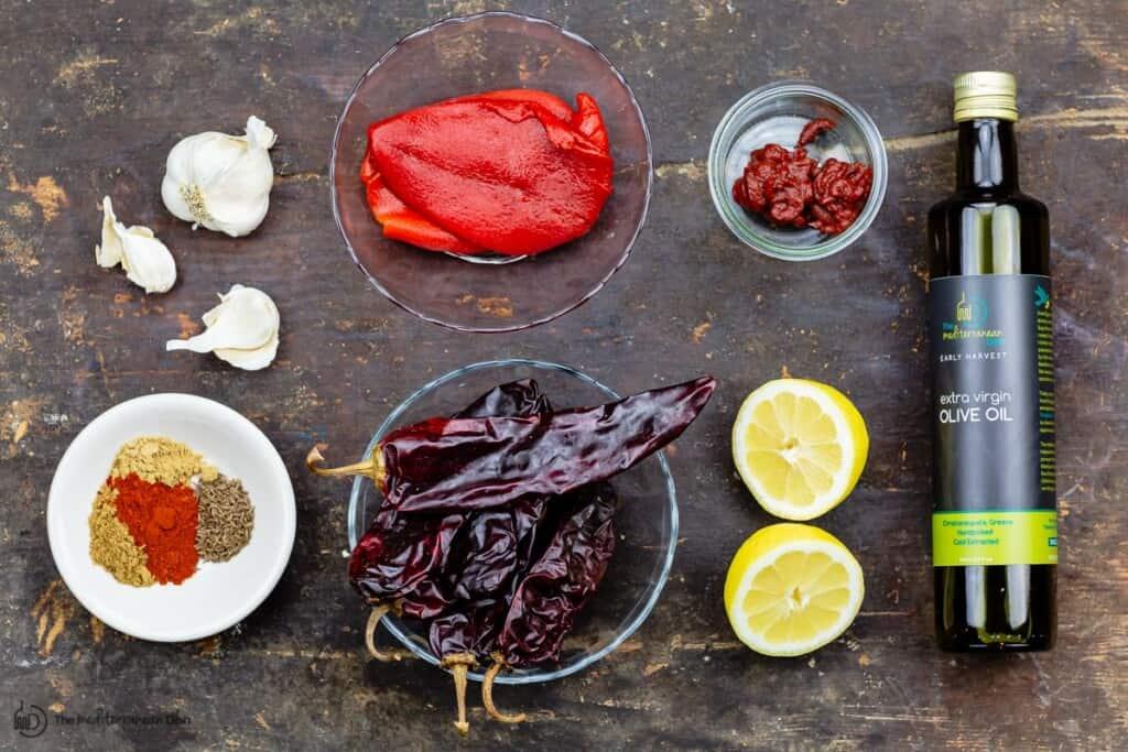 ingredients for homemade harissa sauce