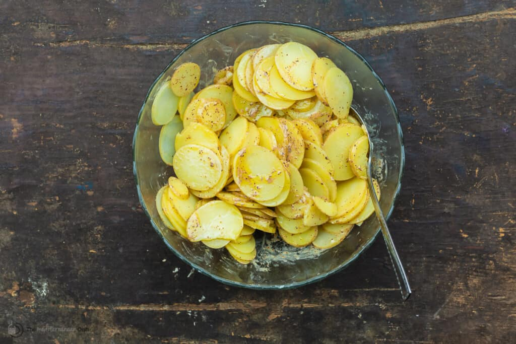 potatoes combined with Dijon dressing
