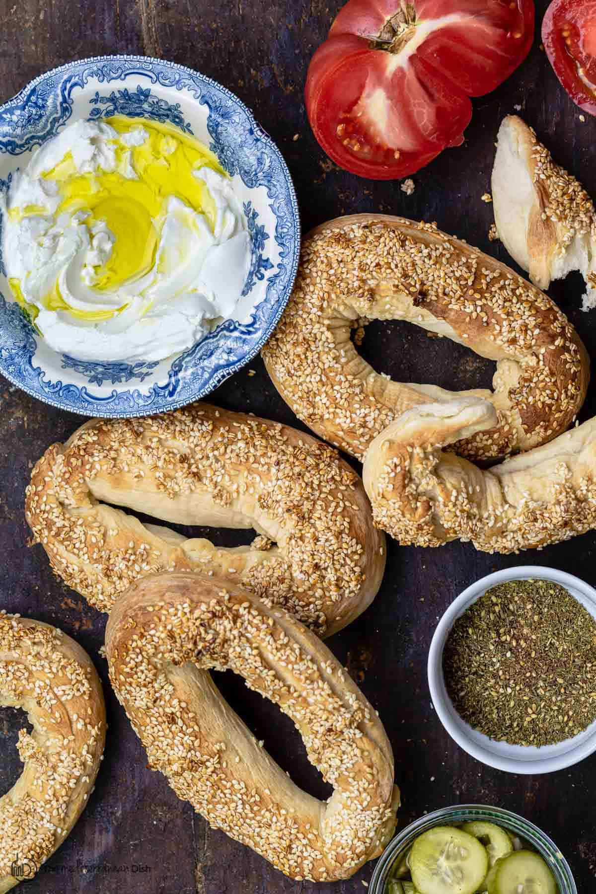 Jerusalem bagels with labneh, tomato, za'atar, pickles