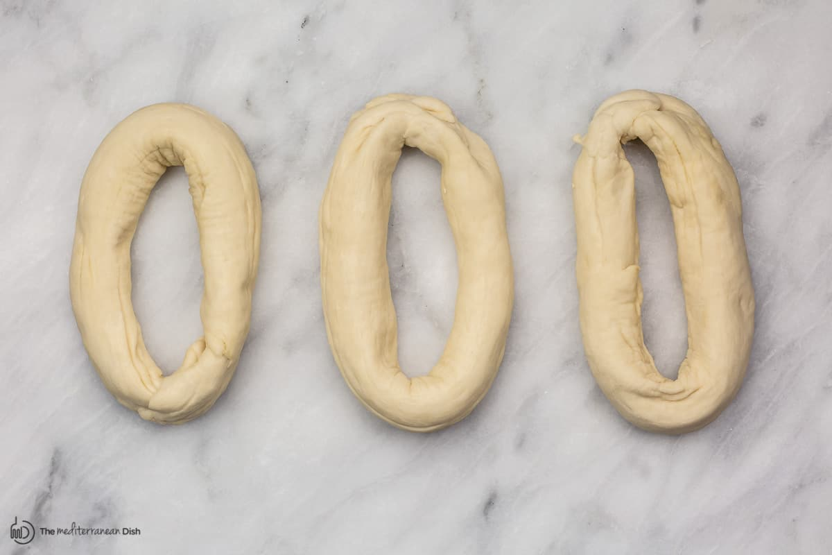dough logs turned to ovals