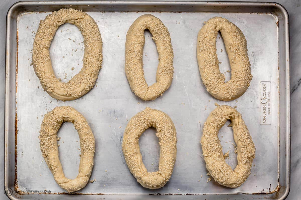 bagels  topped with sesame before baking