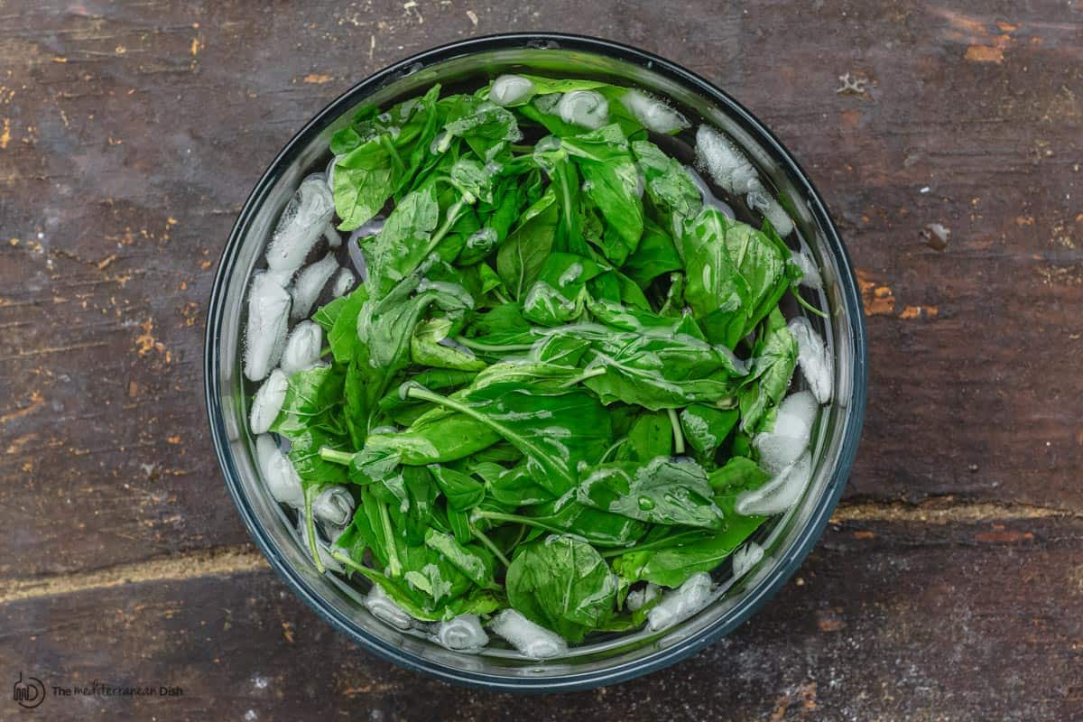 basil leaves in an bowl of iced water