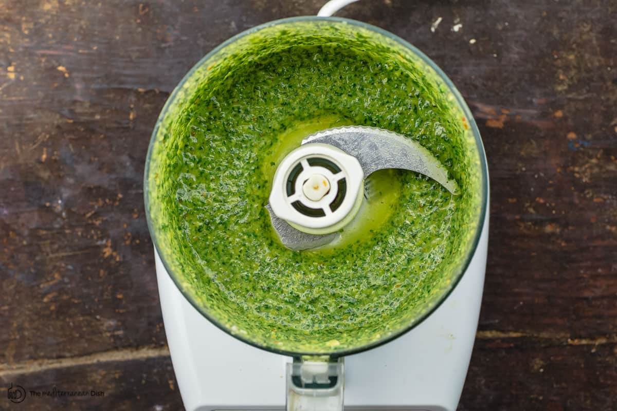 basil mixture in food processor
