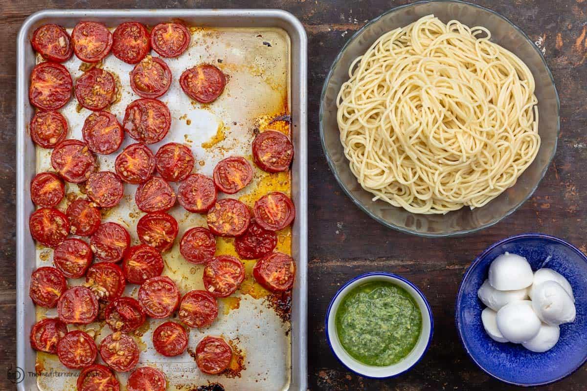 Ingredients for pesto pasta recipe