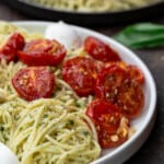 pin 3 for basil pesto pasta with tomatoes and mozzarella