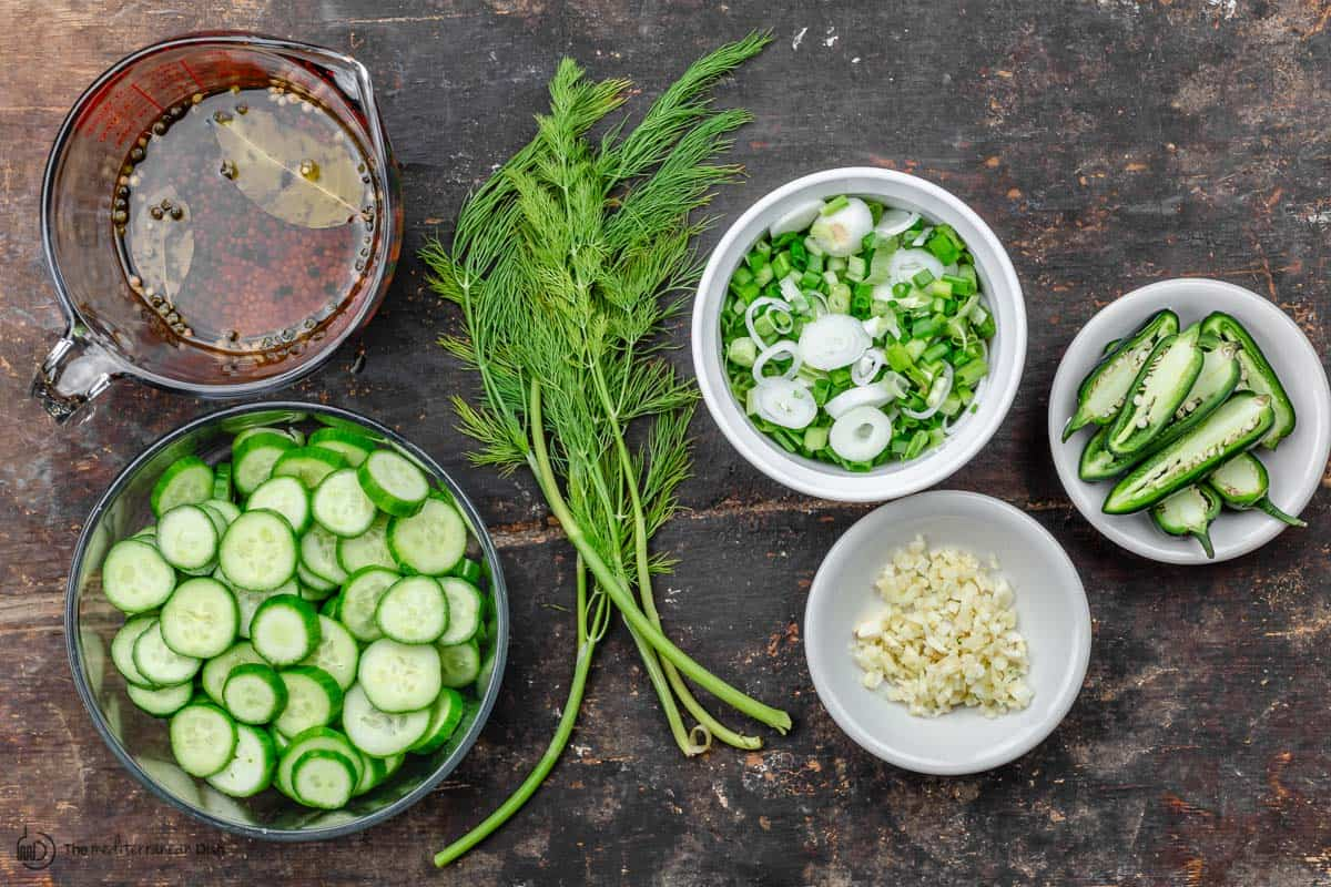 Ingredients for refrigerator pickles. cucumbers, jalapeno, garlic, onions, dill, and brine