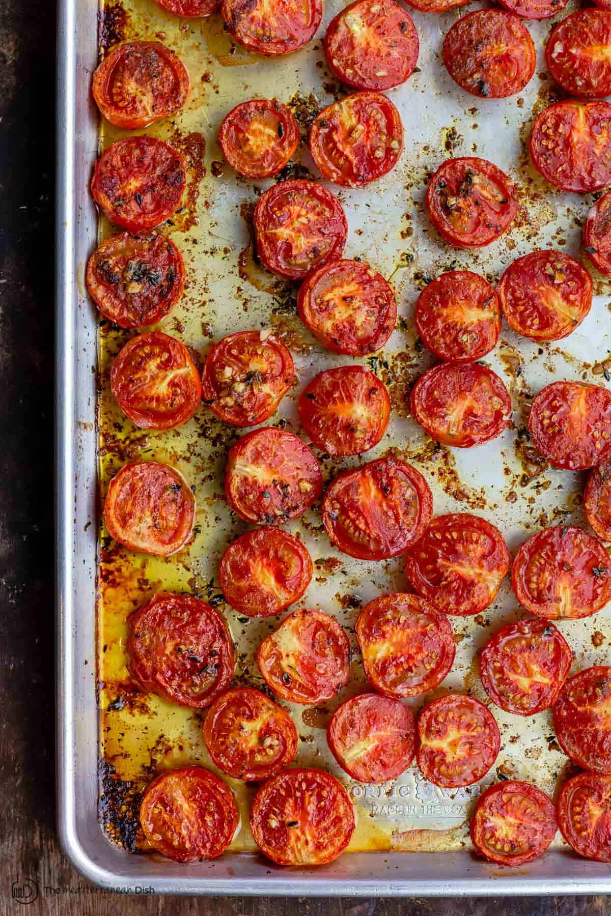 Oven roasted tomatoes on pan