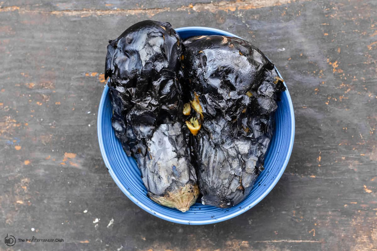 charred eggplant in a bowl