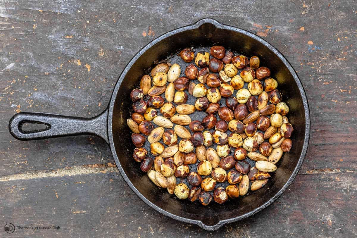 toasted nuts in a pan
