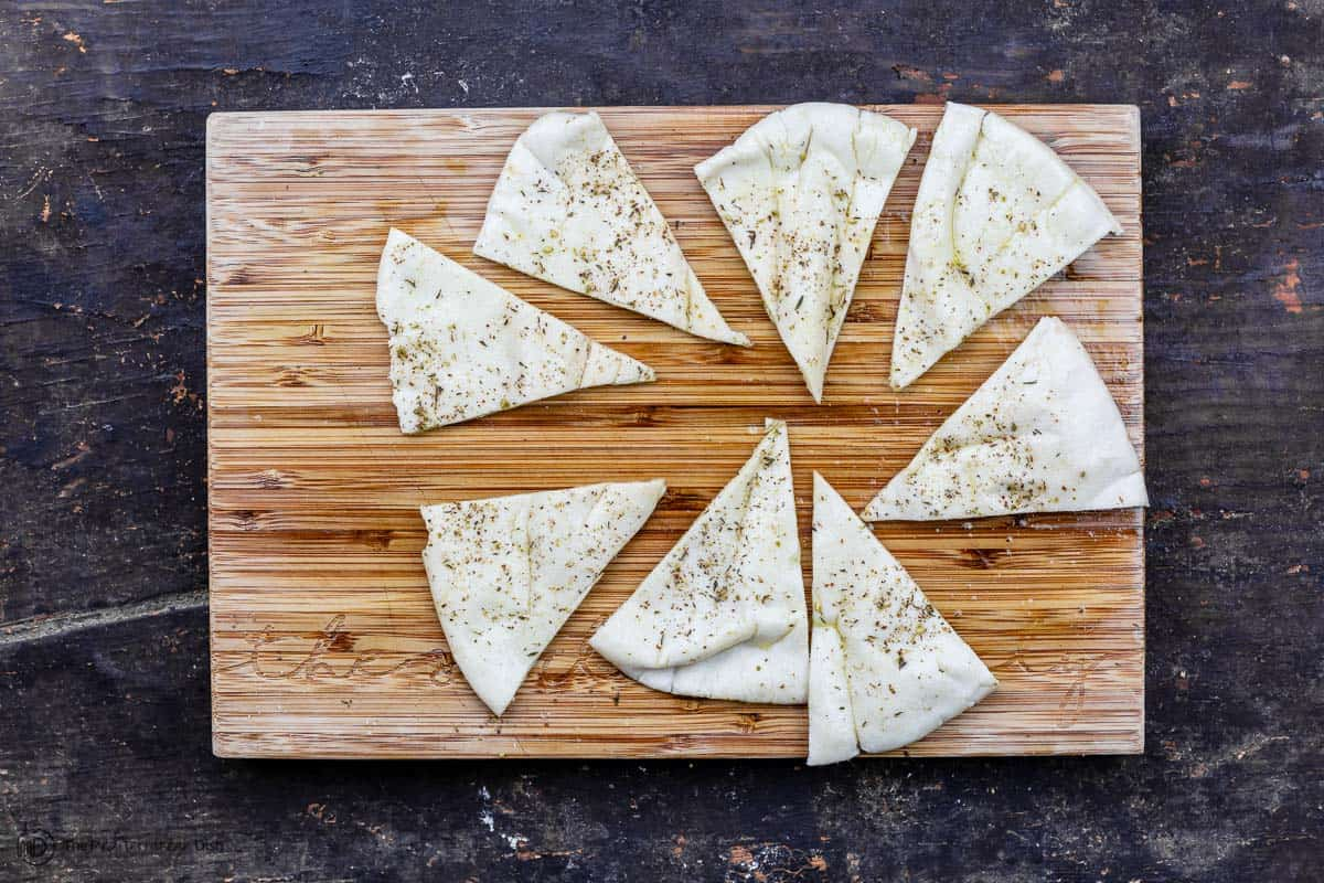 pita cut up into triangles
