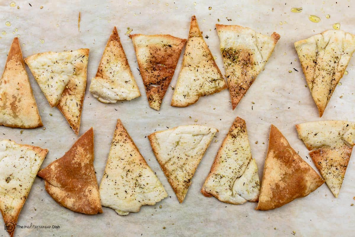 baked pita chips on sheet pan