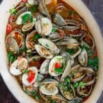 fully cooked clams in their pot