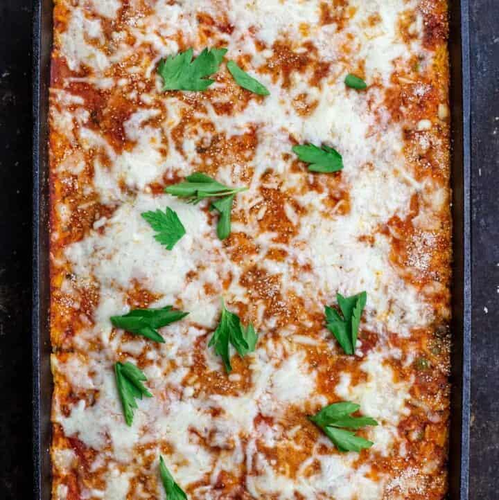 rice casserole (rice ball casserole) in baking dish