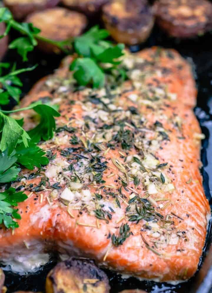 slow roasted salmon garnished with parsley