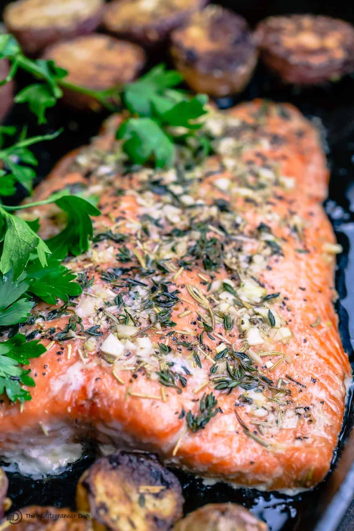 roasted salmon garnished with parsley