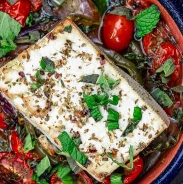 Baked feta with tomatoes, peppers and herbs